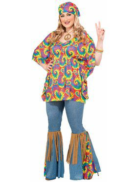 Adult Hippie Chick Plus Costume