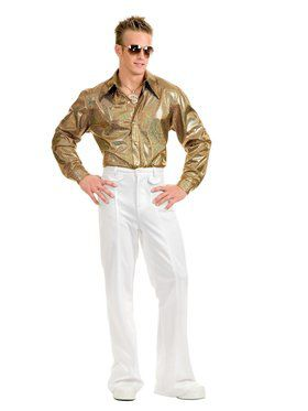 Men's Gold Hologram Disco Shirt