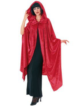 Hooded Crushed Red Velvet Cape Adult Costume