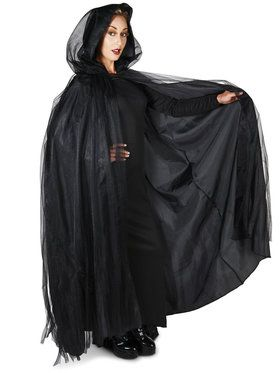 Hooded Lined Black Mesh Adult Cape