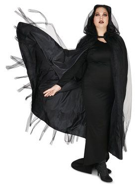Plus Size Hooded Lined Black Mesh Cape For Adults