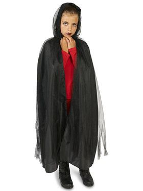 Hooded Lined Black Mesh Child Cape for Halloween