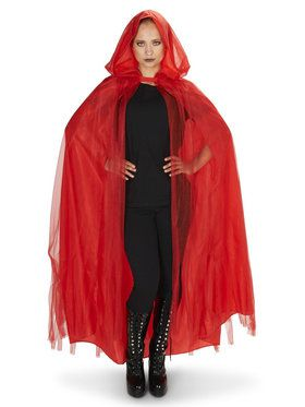 Hooded Lined Red Mesh Cape For Adults