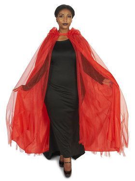 Plus Size Hooded Lined Red Mesh Cape For Adults