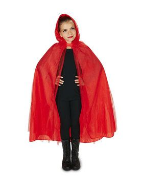 Hooded Lined Red Mesh Child Cape for Halloween