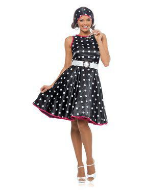 Hot 50s Black Dress Adult Costume