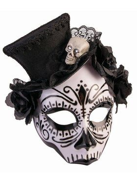 House of Bonez Skull Mask With Top Hat Accessory