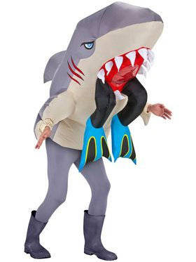 Adult Inflatable Shark Head with Legs Costume For Adults