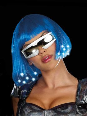 Intergalactic Light Up Blue Wig For Adults