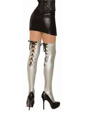 Iridescent and Vinyl Silver Accessory Thigh Highs