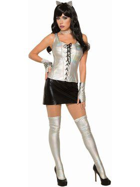 Iridescent and Vinyl Silver Corset Holographic Costume