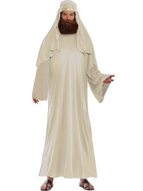 Ivory Biblical Robe with Headdress Men's Costume