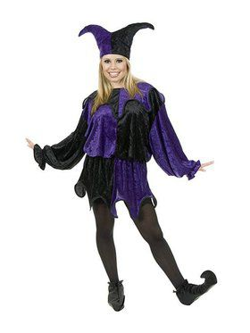 Plus Women's Panne Jester Costume