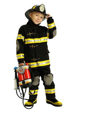 Junior Firefighter Child Black Costume