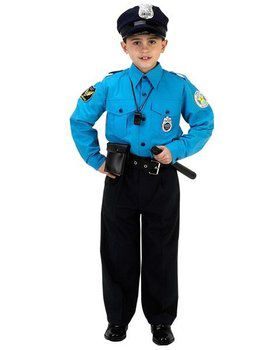 Junior Police Suit Child Costume - Large