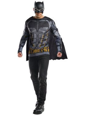 Justice League Tactical Batman Long Sleeve Adult Costume Top with Removable Cape and Mask