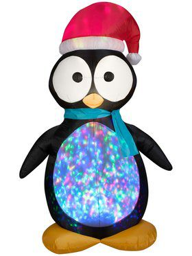 7.5 Ft Kaleidoscope Projection Airblown Penguin