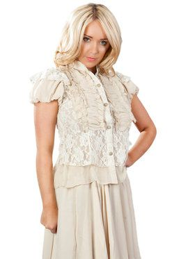 Katie Victorian Cream Chiffon and Lace Shirt for Women