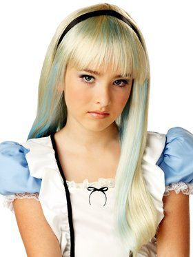 Kids Alice In Wonderland Blonde & Blue Wig