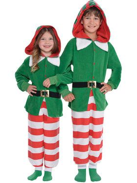 Kids Elf Zipster Jumpsuit Costume