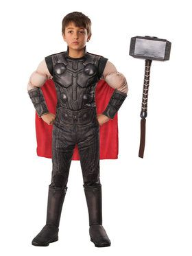 Kids Endgame Thor Costume Kit with Mjonir Hammer