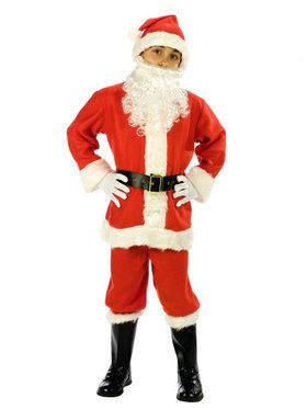 Kids Flannel Santa Suit Costume