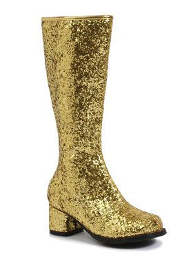 Gold Glitter Gogo Boots For Children