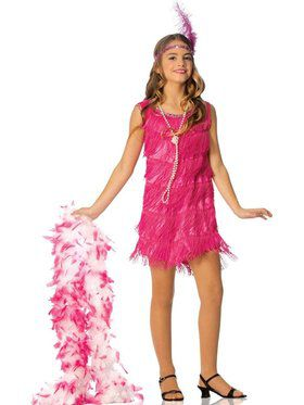Kids Hot Pink Flapper Costume for Girls