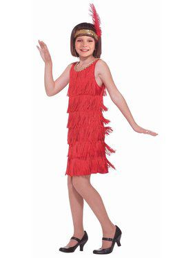 Kids Red Flapper Costume for Girls