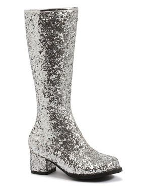 Silver Glitter Gogo Boots For Children