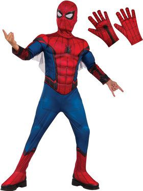 Kids Spiderman Deluxe Costume Kit - Red & Blue
