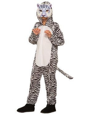 White Tiger Jumpsuit with Mask Costume for Kids