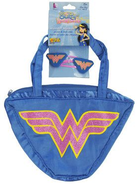Kids Wonder Woman Hair Clips and Purse Set