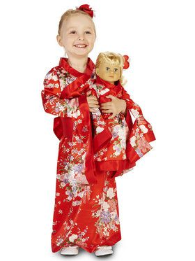"Kimono Child Costume M (8-10) with Matching 18"" Doll Costume"