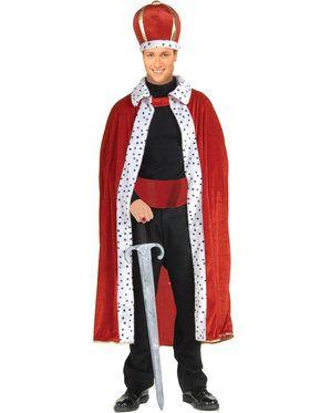 Adult Red King Crown and Robe Costume Set