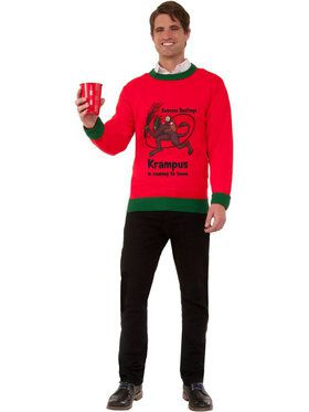 Krampus is Coming To Town Ugly Christmas Sweater Men's Costume