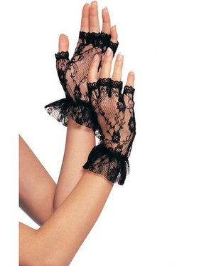 Lace Fingerless Wrist Ruffle Gloves Adult Size