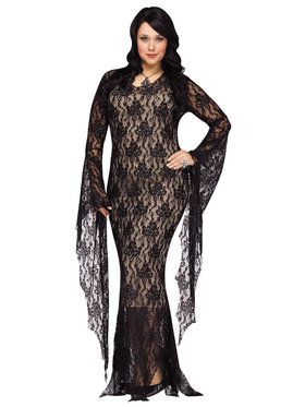 Adult Plus Lace Morticia Costume