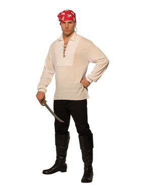 White Lace-Up Pirate Men's Shirt