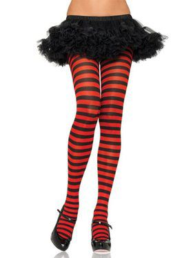 Ladies Black and Red Striped Tights