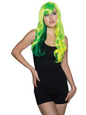 Ladies Fancy Green and Yellow Wig