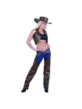 Women's Leather Chaps and Vest Set