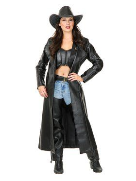 Women's Long Leather Duster