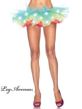 LED Light Up Neon Rainbow Tutu Womens