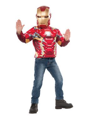 Light Up Boys Iron Man Costume Top Set