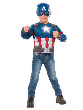 Light Up Captain America Boys Costume Top Set