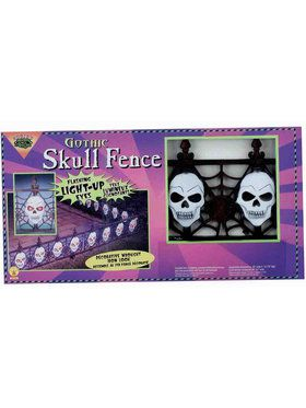 Light Up Gothic Skull Fence (2 piece)