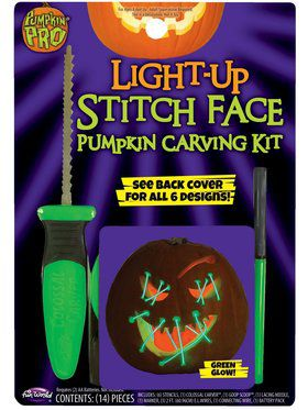 Light Up Green Stitch Face Pumpkin Carving Kit