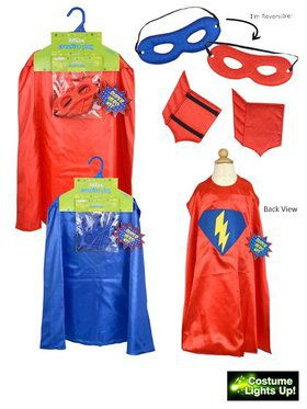 Lightning Bolt Super Hero Cape Set Boy's Costume
