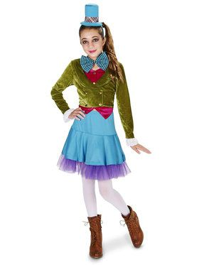 Lime Green Blue Mad Hatter Tween Costume for Halloween